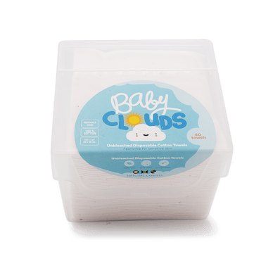Baby Clouds - Unbleached Disposable Cotton Towels - Stork Post: an eco-friendly and ethically sourced subscription boxes and marketplace for babies and their parents.