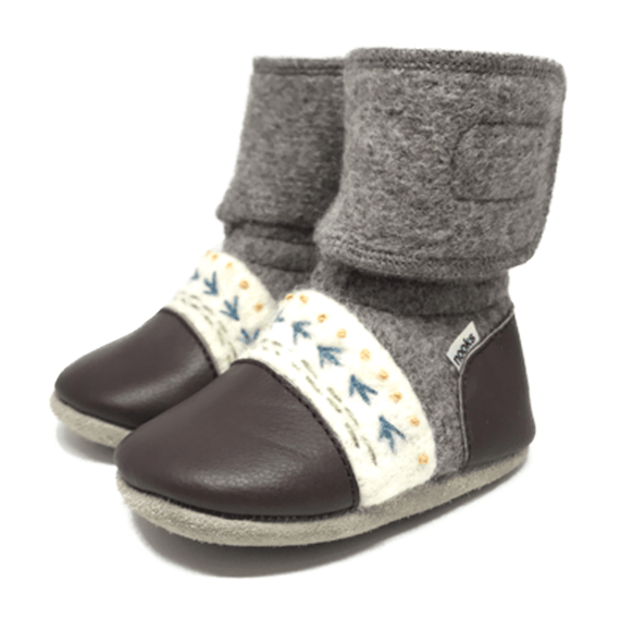 Caribou Embroidered Wool Booties - Stork Post