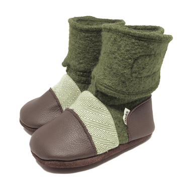 Coastal Forest Felted Wool Booties - Stork Post