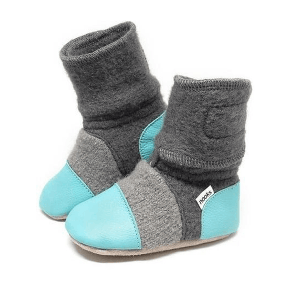 Lagoon Felted Wool Booties - Stork Post