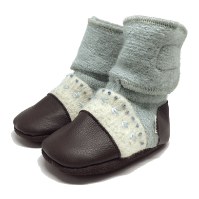 Sea Glass Embroidered Wool Booties - Stork Post
