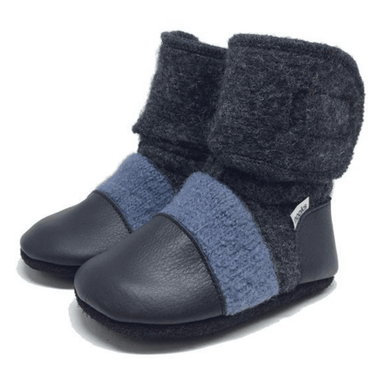 Steel Blue Felted Wool Booties - Stork Post