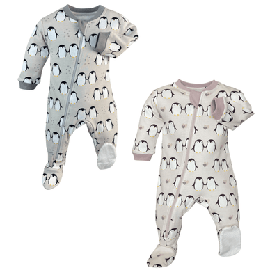 """Little Penguin"" Organic Cotton Footed Pajamas - Stork Post"