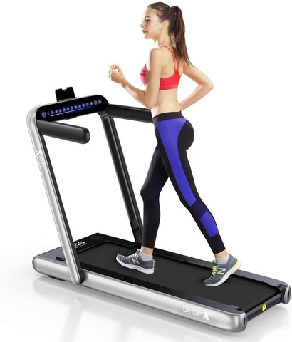 Dripex 2 in 1 Folding Treadmill, 2.25HP Under-Desk Motorized Treadmill with Bluetooth Speaker,Remote Control,LED Display,Easy Assembly, Indoor Walking Running Machine for Home Office Fitness