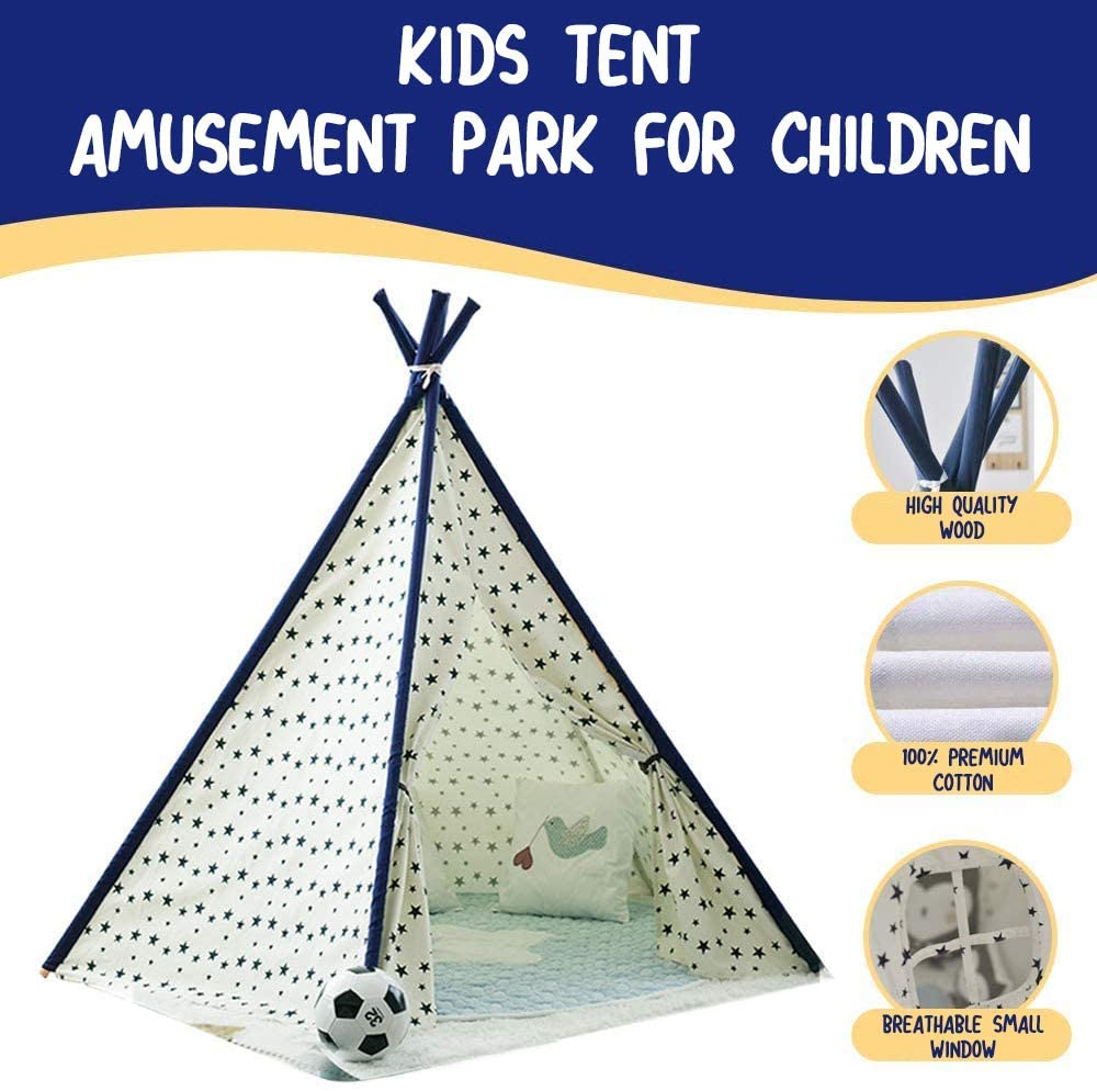 Dripex Teepee Tent Kids Play Tent Foldable Children Tent for Boys and Girls with Carry Bag 5 Poles Star Playhouse Toy for Indoor and Outdoor Game