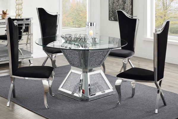 Noralie Black Fabric 5pc Dining Room Set