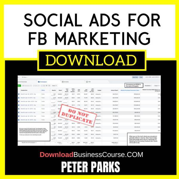 Peter Parks Social Ads For Fb Marketing FREE DOWNLOAD