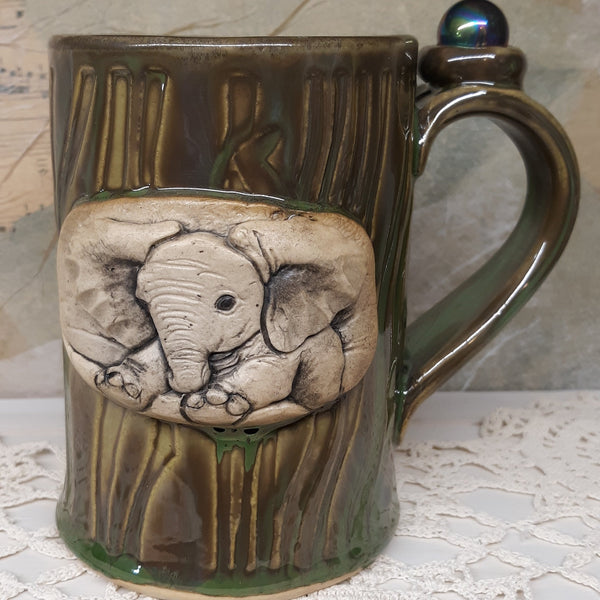 Elephant mug with crystal
