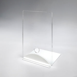 Acrylic/Plexiglass Table Top Sneeze Guard with White Arch Base