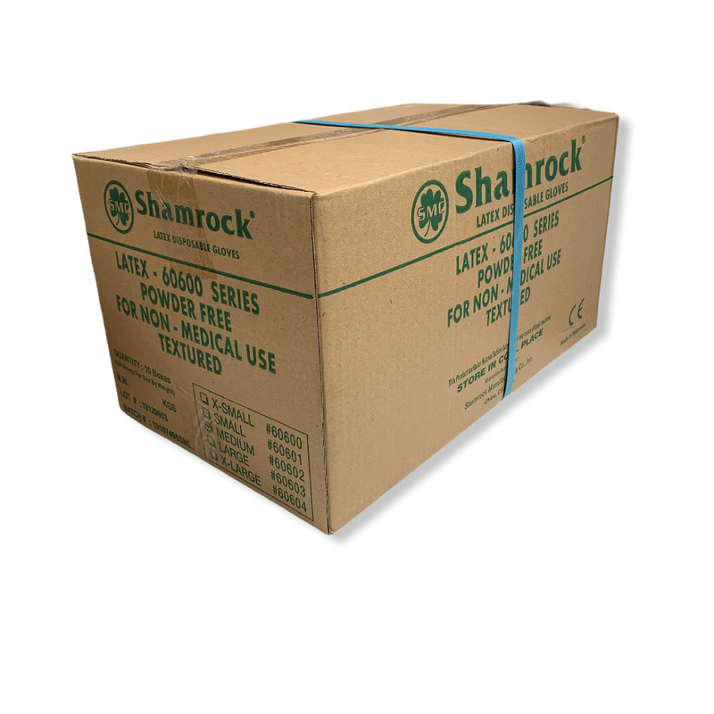 SHAMROCK Gloves | Latex Industrial Powder Free Gloves (100 Gloves/Box)