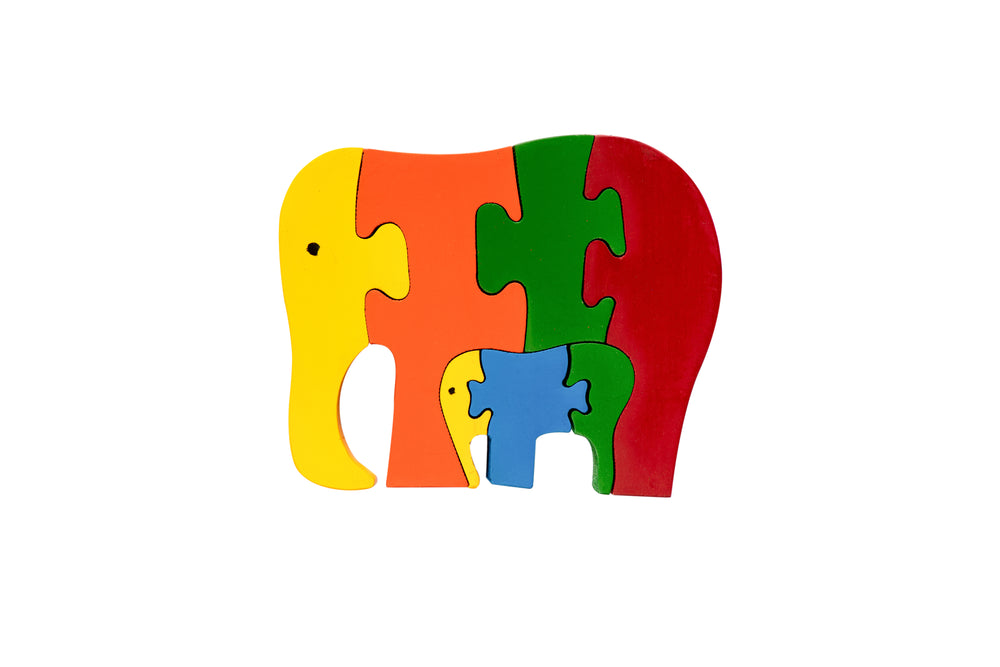 Wooden Puzzle - Elephant (coloured)