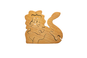 Load image into Gallery viewer, Wooden Puzzle - Lion (natural wood)
