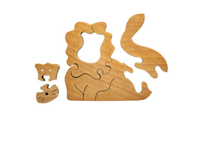 Wooden Puzzle - Lion (natural wood)