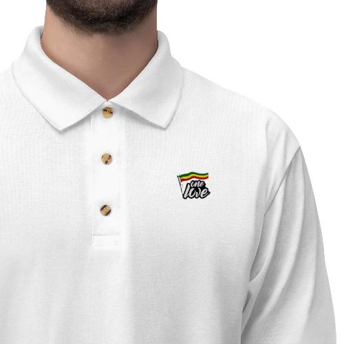 Printify Polo Blanc - One Love Drapeau Gauche / L / 71.95 Polo Reggae One Love pour Homme