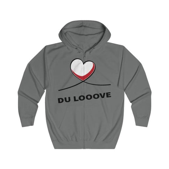 Printify Hoodie Steel Grey / L Sweat-shirt Coeur rouge et blanc Exclusif | Notre Sweat Hip-Hop/Reggae Unique