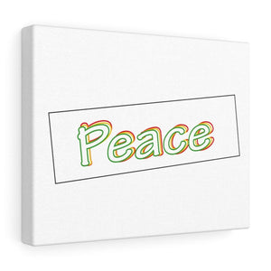"14″ × 11″ / Stretched Canvas (1.5"") Tableau Reggae décoratif (peace vert jaune rouge)"