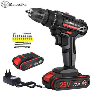 25VCordless Screwdriver Electric Screwdriver Cordless Drill Power Tools Handheld Drill Lithium Battery Charging Drill + Battery matpewka Official Store