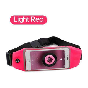6 Inch Sports Running Waist Bag for iPhone Samsung Huawei Outdoor Jogging Belt Waterproof Phone Bag Case Gym Waist Holder Cover KLL Official Store Light Red