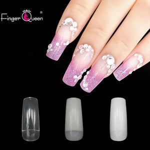 500P Long Coffin Glossy False Nails Solid White Acrylic Fake Nails Natural Clear Glitter Ballerina Nail Tips For Nail Extention Xu XiuBIAO Fake Nails Store