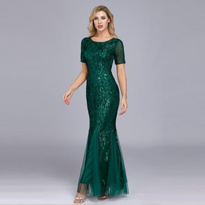 Embroidered beaded Fabric Prom Dresses Sugar Color O-Neck Short Sleeve Elegant Little Mermaid Dresses Formal Party Gowns 2019 XUCTHHC Store Dark Green 4