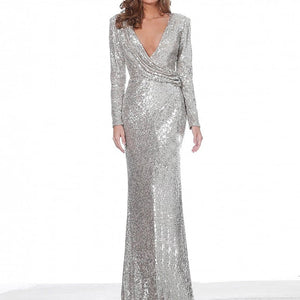Silver V Neck Full sleeved Autumn Winter Evening Party Dress Gown Sequined Stretchy Long Maxi Dress