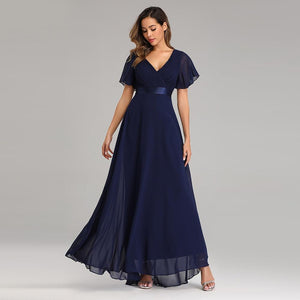 Evening Dresses XUCTHHC Elegant V-Neck Ruffles Chiffon Formal Evening Gown Party Dress Robe vestidos de fiesta de noche A-line XUCTHHC Store Navy Blue 2