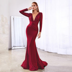 Deep V Neck Full Sleeved Pleated Long Evening Party Dress Satin Floor Length Event Gown Prom Robe