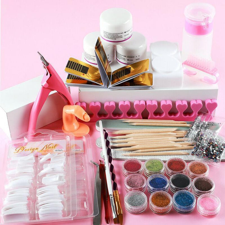 Professional Nail Art Set 42 Acrylic Liquid Powder Glitter Clipper Primer File Nail Art Tips Tool Brush Tools Set Manicure Kit Makeup Store