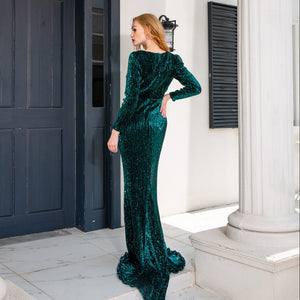 Long Evening Mermaid Dress Full Sleeved Square Neck Green Sequined Floor Length Stretchy Bodycon Maxi Dress