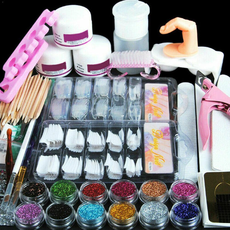 Nail Art DIY Kit Set Acrylic Powder Glitter Rhinestones Decoration Manicure Nail Kits Art Tips Nail Tool Brush Tool K4T8 Toot-too Store