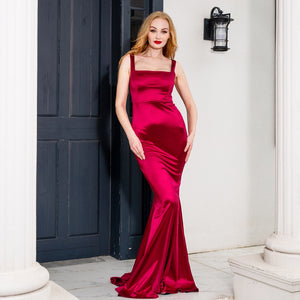 Square collar satin maxi dress long  train mermaid sleeveless evening party dress burgundy black floor length dress gown