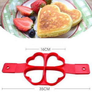 1Pcs Silicone Non Stick Fantastic Egg Pancake Maker Ring Kitchen Baking Omelet Moulds flip cooker Hot TV show Store shape 4 heart