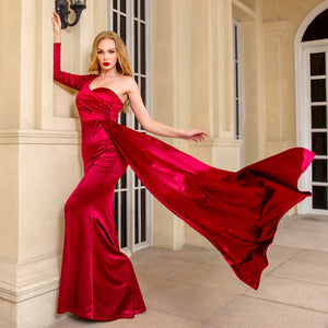 One Shoulder Full Sleeved Long Train Stretch Satin Floor Length Maxi Dress Padded Draped Evening Party Dress