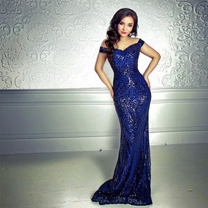 Party Dress Sequin Maxi Dress Off the Shoulder Bodycon Elegant Wedding Women Dresses NOT Stretch