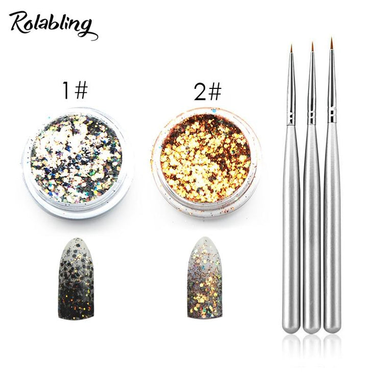 Rolabling Nail Art Brush Glitter Powder Set for UV Gel Builder Gel Nail Pen Drawing Brush Dust Glitter Set Manicure Kit RL Nail Art Store