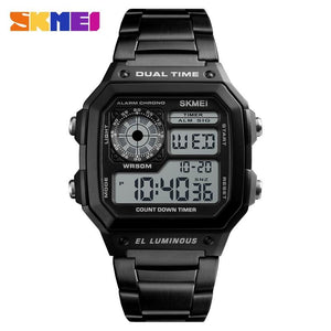 Sports Watches Men Count Down Waterproof Watch Stainless Steel Skmei Factory Outlet Store Black CHINA