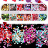 Mixed 12 color holographic glitter nail art decorations sequins powder fake nails accessoires manicure acrylic nail kit Lucky Store CT13