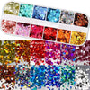Mixed 12 color holographic glitter nail art decorations sequins powder fake nails accessoires manicure acrylic nail kit Lucky Store