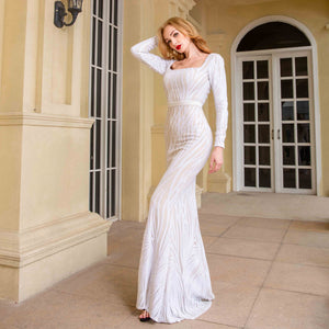 White sequined long evening party gown dress floor length full sleeved elegant Autumn Winter Maxi Dress