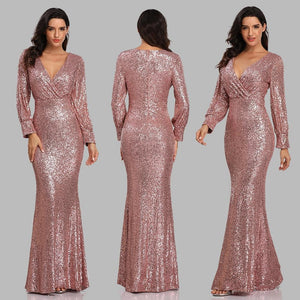 New Sexy V Neck Mermaid Evening Dress Long Formal Prom Party Gown Full Sequins long Sleeve Galadress vestidos occassion dress XUCTHHC Store