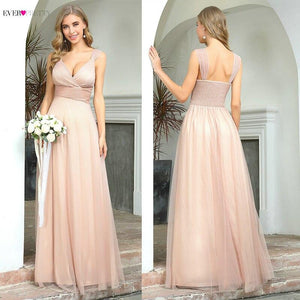 Spakle Prom Dresses Long Ever Pretty A-Line V-Neck Ruched Elegant Cheap Tulle Evening Party Gowns Vestidos Largos Fiesta 2020 Ever-Pretty Flagships Store
