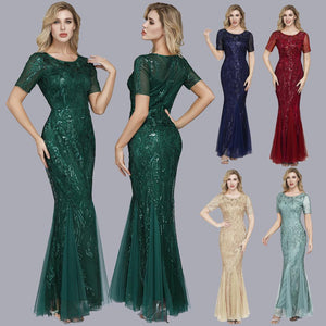 Embroidered beaded Fabric Prom Dresses Sugar Color O-Neck Short Sleeve Elegant Little Mermaid Dresses Formal Party Gowns 2019 XUCTHHC Store