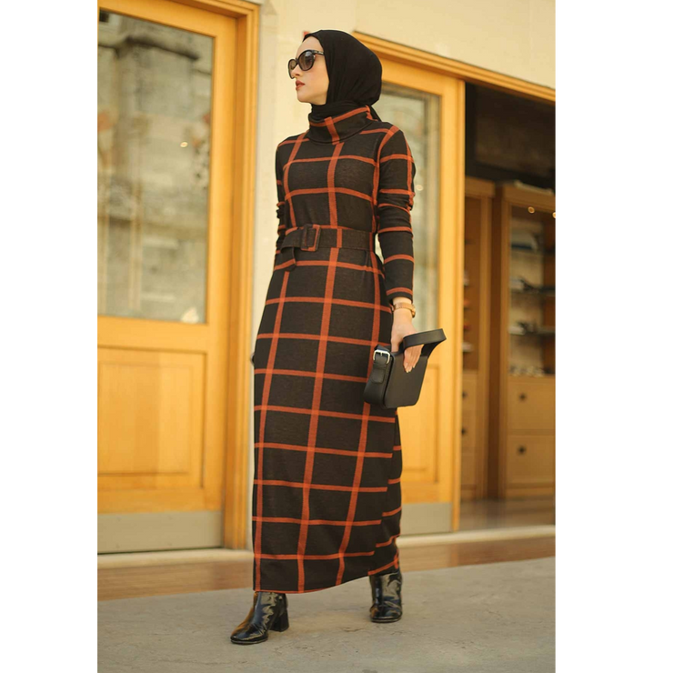 Turtleneck Women's dress,Islamic Dress Clothing,Hijab,Muslim Fashion sets,Turkey,cap,knitted midi maxi dress,long dress,2020
