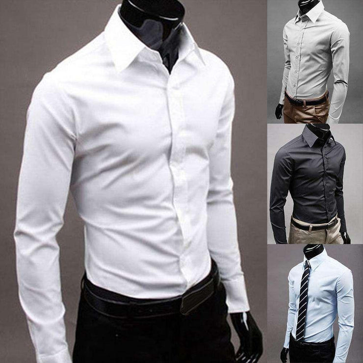 Brand Men's 100% cotton long sleeves Men Dress Shirts Men Solid Color Business Long Sleeve Button Turn Down Collar Shirt Top LS Bag Store