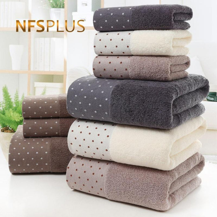 Cotton Bath Towel Set for Bathroom 2 Hand Face Towels 1 Bath Towel for Adult White Brown Grey Terry Washcloth Travel Sport Towel NFS PLUS Official Store
