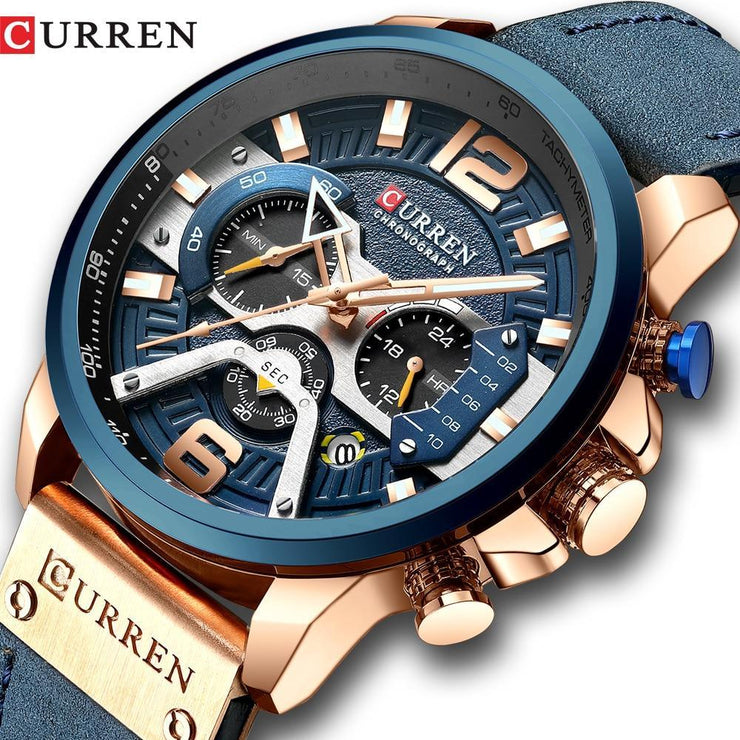 CURREN Casual Sport Watches for Men Blue Top Brand Luxury Military Leather Wrist Watch Curren Official Store