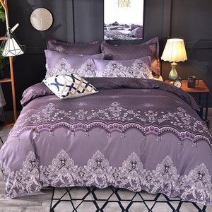 Floral Lace Printed Luxury Bedding Set Nordic King Size Duvet Cover Sets Single Double Queen Quilt Covers Bed Linens Bedclothes Dream-Karin Textile Store PURPLE Full 3pcs 200x230