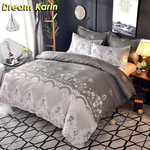 Floral Lace Printed Luxury Bedding Set Nordic King Size Duvet Cover Sets Single Double Queen Quilt Covers Bed Linens Bedclothes Dream-Karin Textile Store