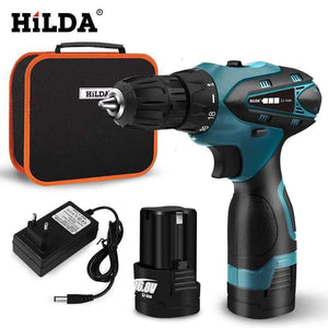 HILDA Electric Drill Cordless Screwdriver Lithium Battery Mini Drill Cordless Screwdriver Power Tools Cordless Drill HILDA Official Store