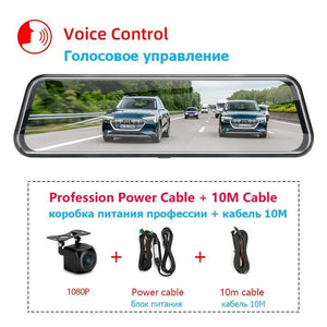 Jansite 10 inches Touch Screen 1080P Car DVR stream media Dash camera Dual Lens Video Recorder Rearview mirror 1080p Rear camera Jansite Official Store T32S 10m power box CHINA 64G Card